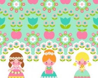 Organic Jersey flower girls of pastell Finch fabric