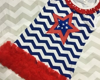 Red, white, and blue dress.  Perfect for the 4th of July and Memorial Day!