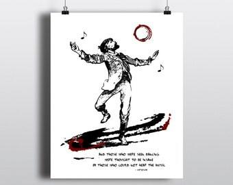 Friedrich Nietzsche Quote Print, Dancing Man Illustration, Musical Quote, Literary Wall Art, Instant Digital Download