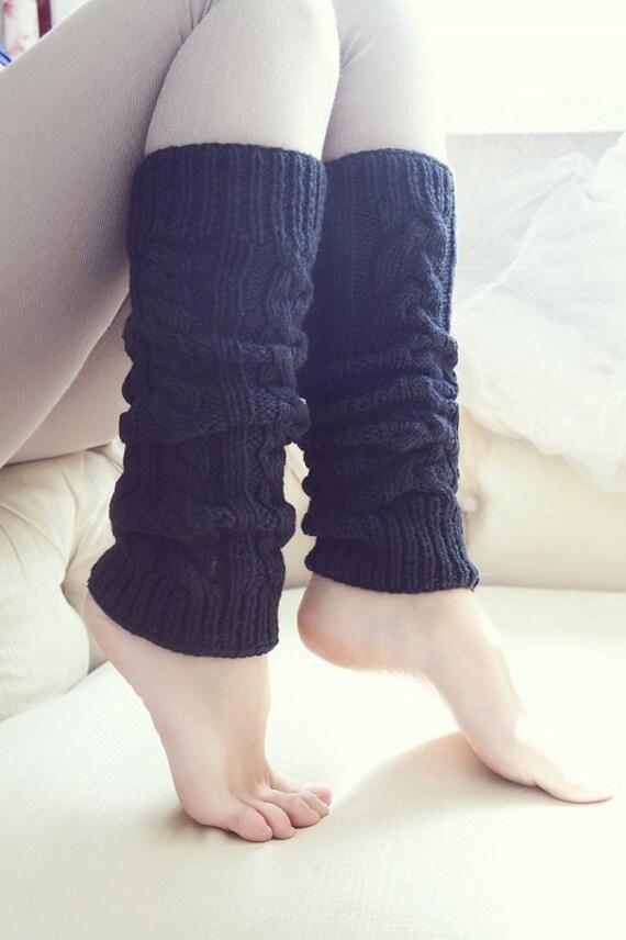 Knit black Leg Warmers, Women's Leg Warmers, Knitted Leg Warmers, long socks, wonderful stretchy gaiters, wool