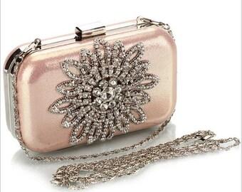 Blush Pink Wedding Prom Crystal Clutch Evening Bag Purse
