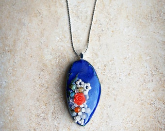 Cobalt blue pendant made from porcelain, with freshwater pearls, gemstone, resin cabochons-Rosa, cat's eye. Gift for her!