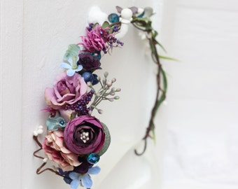 Flower hair wreath Flower headband Bridesmaid flower crown Floral crown Boho floral crown Wedding flower crown Flower halo Wedding halo