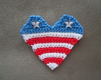 Crocheted Miniature Flag Heart Sticker