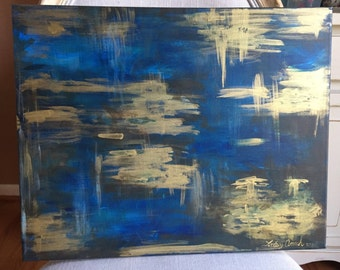 Blue Painting, Original Abstract Blue Painting, Abstract Blue and Gold Painting, Original Acrylic Blue Canvas Paintings, Wall Art