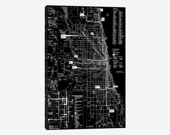 Minimalist Gallery Style Canvas Print of Modern Art Chicago Transit Negative Street Map Windy City Urban Downtown Wall Decor Office Artwork