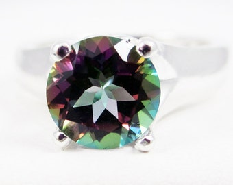 Large Mystic Topaz Solitaire Ring Sterling Silver, Rainbow Topaz Ring, Topaz Solitaire Ring