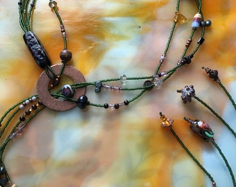 CalyKat Garden Rose Adjustable Length Lariat  Necklace with Handmade Focal Bead and Hand Forged Copper