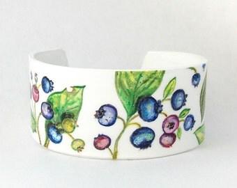 Blueberry bracelet, blueberry jewelry, blueberry cuff, blue cuff bracelet, leaf bracelet, nature bracelet, statement cuff, colorful jewelry
