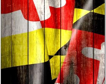 Maryland Flag Wavy Weathered Wood LAMINATED Cornhole Wrap Bag Toss Decal Baggo Skin Sticker Wraps