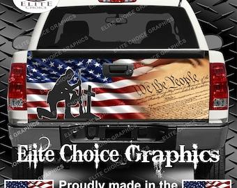 Patriotic Constitution Flag Truck Tailgate Wrap Vinyl Graphic Decal Sticker Wrap