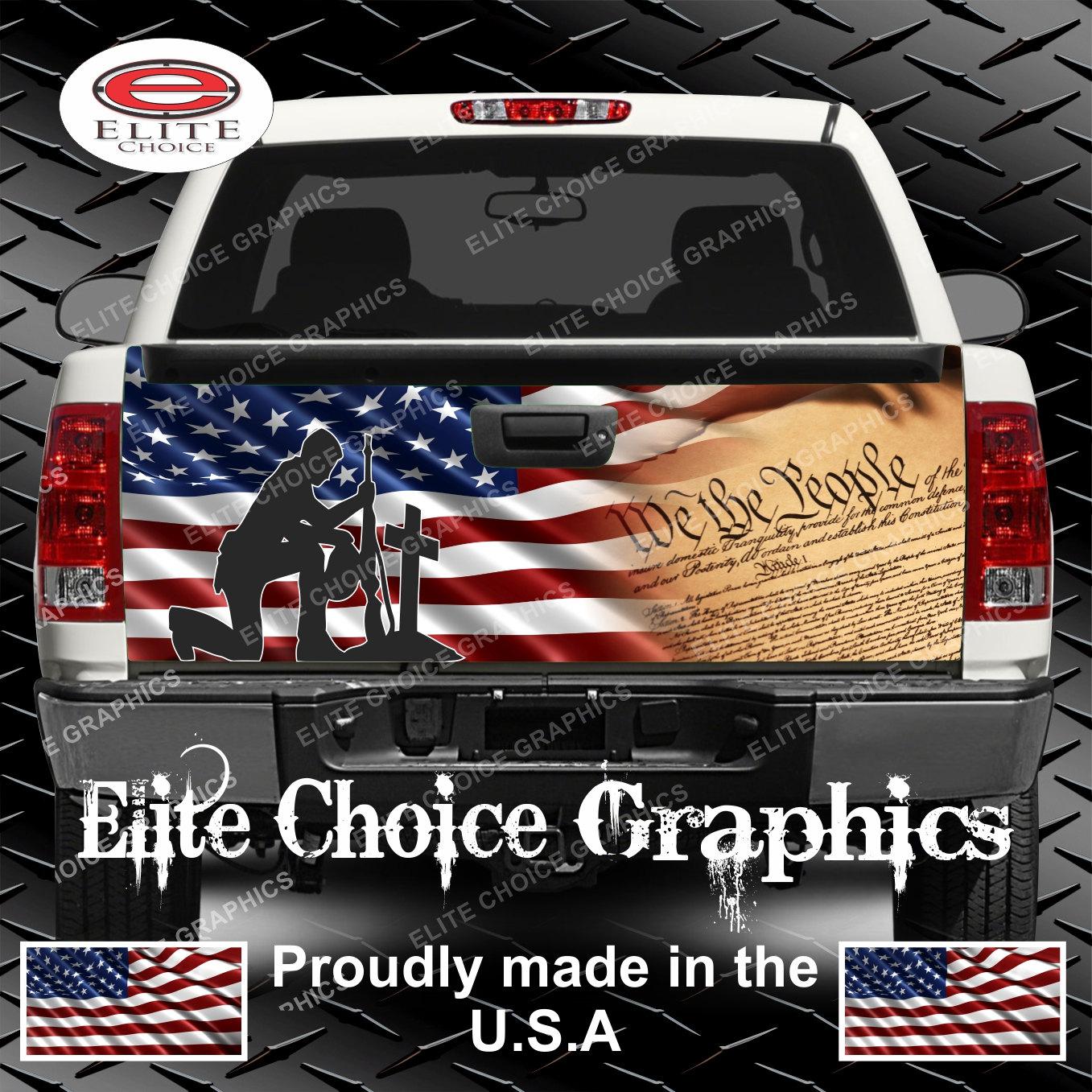 Patriotic Constitution Flag Truck Tailgate Wrap Vinyl Graphic - Vinyl graphics for trucks