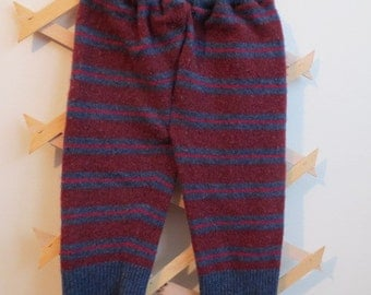 Upcycled Wool Longies, Medium Weight, burgundy/blue/red