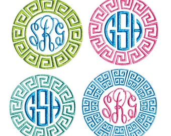 Greek Key Monogram Frame 2 Embroidery Designs