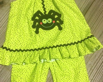 Girls Green And Black Polka Dot Spider Outfit