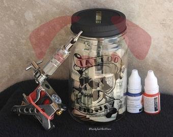 Tattoo Fund - Money - Mason Jar - Piggy Bank - Mason Jar Piggy Bank - Skull Piggy Bank - Skull Mason Jar Tattoos Fund