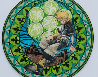 Kingdom Hearts Stained glass Ventus/Roxas disney anime painting