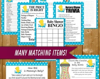Rubber Duck Baby Shower Games Printable 8 Pack, Baby Shower Games, Neutral Baby Shower Games, Rubbery Duck, Instant Download