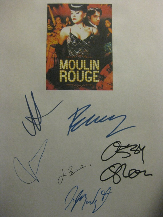 Moulin Rouge Signed Film Movie Screenplay Script X6 Autograph Nicole Kidman Ewan McGregor Ozzy Osbourne John Leguizamo Jim Broadbent musical
