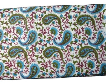 1 to 50 Yard Indian Hand Block Printed Cotton Paisley Printed Fabric