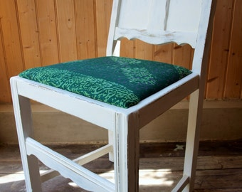 White Distressed Wood Panel Chair