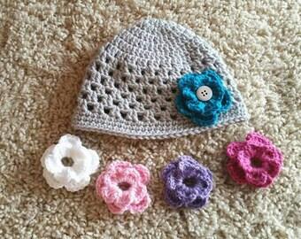 Crochet Hat With Detachable Flowers