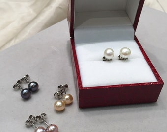 6mm Pearl studs earrings, Freshwater pearl earrings, Small,925 Sterling Silver Post