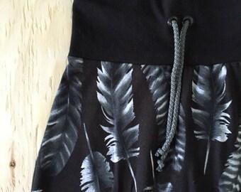Unisex evolutionary monochrome feathers patterned knit pants