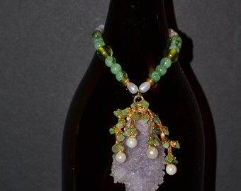 Wine bottle decoration with a lavender crystal on  pearl and jade bead chain  (#B57)