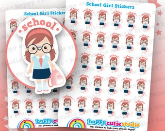 30 Cute School Girl Planner Stickers, Filofax, Erin Condren, Happy Planner,  Kawaii, Cute Sticker, UK