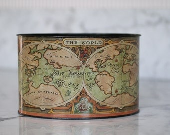 Metal Old World Map pencil holder desk accessory