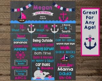 girl's Nautical Birthday Chalkboard Sign, Nautical Theme birthday, Nautical party decor, first birthday, second, third, nautical party print