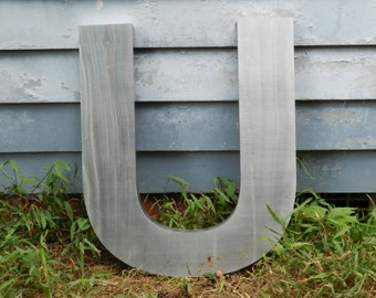 "Marquee Sign Letter U - 22.5"" tall Stainless Steel 3 Dimensional Letter for Wall Decoration / Decor  - 22.5"" X 18.756"" X 1.5""            P-1"