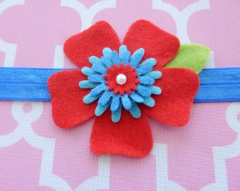 Red & Blue Felt Flower Headband