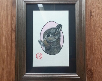 "Framed original watercolor ""Bunny"""