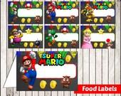 80% OFF SALE Chalkboard Mario Bros Food Tent Cards instant download, Printable Mario Bros Chalkboard Food Labels, Mario Bros Party Food