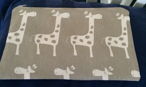 Giraffe Pouch Bag fully lined with inside Pocket Fabric by Premier Prints