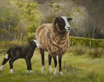 Original Canvas by Alison Armstrong - Wildlife Art / Animal Painting - Zwartbles sheep