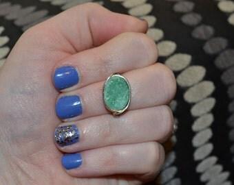 Gorgeous Green Druzy Ring
