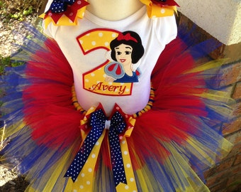 Snow White Princess Birthday Tutu Outfit Dress Set Handmade