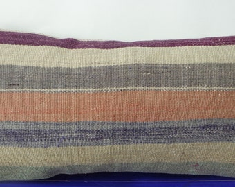12x24 kilim pillow lumbar striped pillow cover -230b