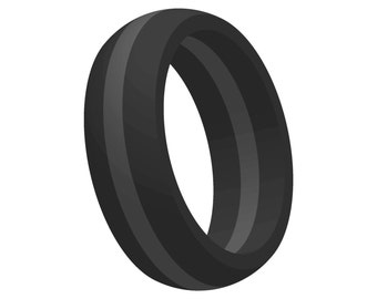 Mens Black w/ Gray Line Silicone Wedding Engagement Ring Band Flexible Hypoallergenic Modern Sports Athletic Mans Jewelry FAST FREE SHIPPING