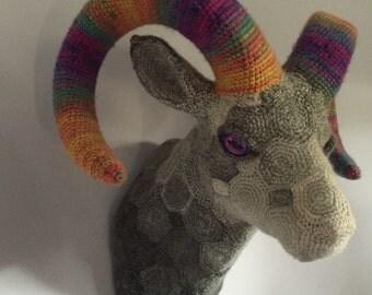 Handmade crochet faux taxidermy trophy rams head