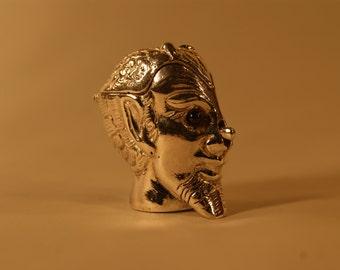 Sterling 925 Silver Vesta Match Safe Box Case Holder Satan Devil Head Push Nose Not Monogrammed Heavy A1939