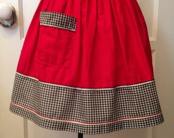 Vintage 1950's Handmade Apron--Cherry Red With Black & White Gingham /Checkered Waistband, Sashes, And Bottom Border--Iconic 1950's Colors