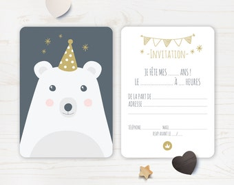 "Invitation for ""Nice bear"" birthday card"