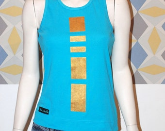 """Tank top, woman, """"vest-e-bubble"""", turquoise and gold, hand painted. Size 40-42 (L)."""