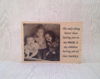 Personalised gift for Mother's Day. Vintage unique personalised wooden photo block for mum. Gift for mum. Photo gift for Mother's Day