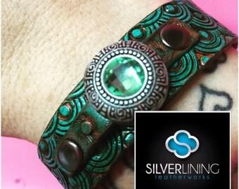 Mint jewel mermaid leather tooled bracelet