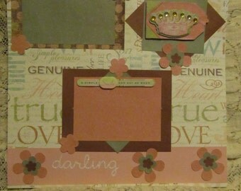 12x12 premade scrapbook page- Princess/daughter/pink/green/darling/girl